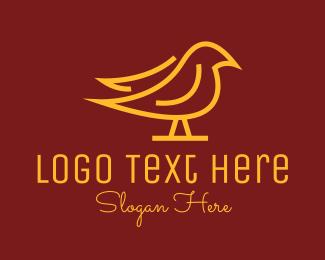 Simple - Golden Simple Bird logo design