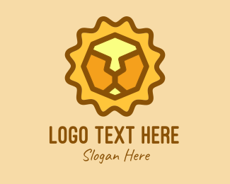 Animal - Geometric Lion Head logo design