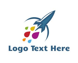 Spaceship - Ink Rocket logo design
