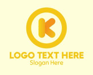 Kinder - Yellow Letter K Circle logo design
