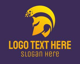 Communications - Golden Helmet Pixel logo design
