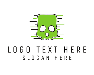 Bone - Green Skull logo design