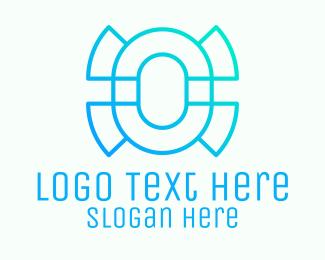 Number 0 - Futuristic Letter O  logo design