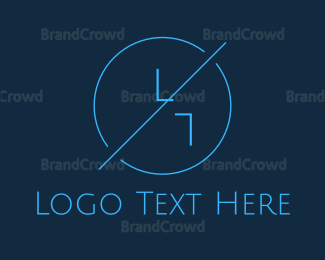 Crack - Blue Hipster Circle logo design