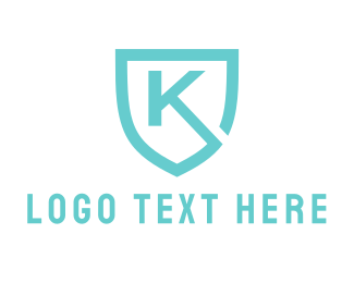 Initial - Blue Shield Letter K logo design