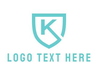 Shield - Blue Shield Letter K logo design