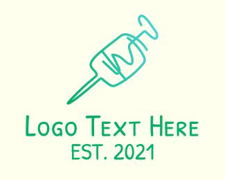 Nursing - Green Monoline Syringe logo design