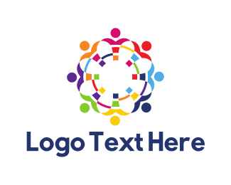 People - Colorful Group of People logo design