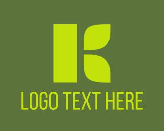 Salad Bar - Neon Green K logo design