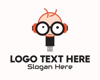 Flash Drive - Geek Flash Drive logo design