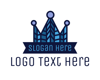 Mosaic - Blue Mosaic Crown logo design
