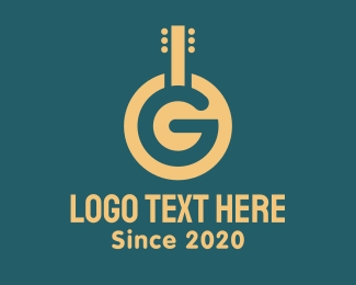 Band - Golden Letter G Guitar logo design