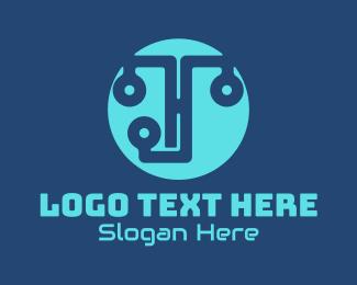 Programming - Blue Programming Circuit logo design