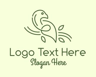Bird - Green Dove Line Art logo design