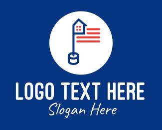 Flag Pole - House USA Flag Pole logo design