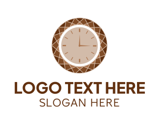 Duration - Brown Diamond Clock logo design