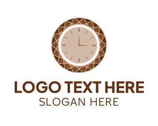 Clock - Brown Diamond Clock logo design