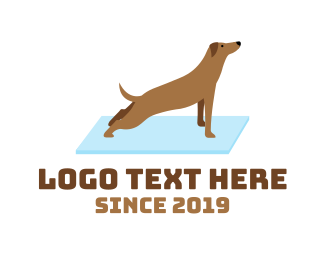 Grooming - Stretching Dog Yoga logo design