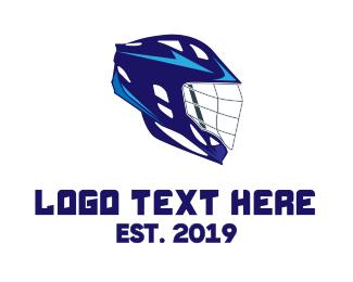 Blue Helmet - Blue Lacrosse Helmet  logo design
