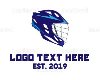 Biker - Blue Lacrosse Helmet  logo design