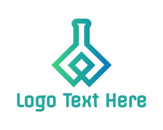 Bio Chem - Flask Outline logo design