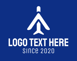 Airline - Abstract White Plane logo design