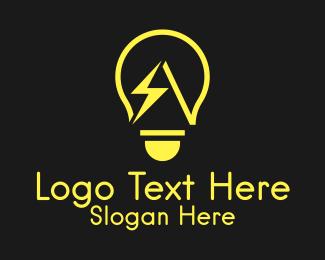 Thunderbolt - Yellow Thunderbolt Lightbulb logo design