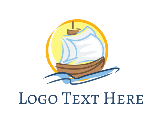Accommodation - Wood Sailboat logo design