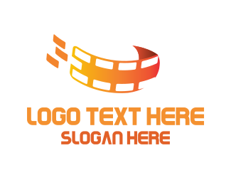 Film Studio - Orange Filmstrip logo design