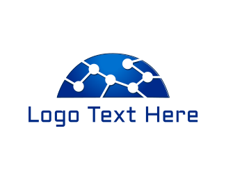 Technological - Blue Network logo design