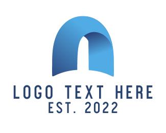 Arch - Blue Arch Letter A logo design