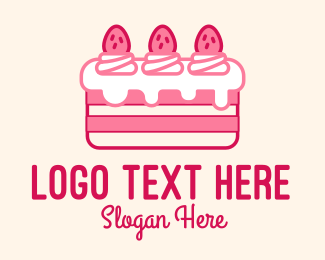 Cheesecake - Strawberry Cheesecake Cake  logo design