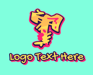 Beatbox - Graffiti Art Letter T logo design