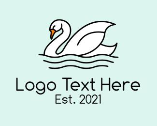 Swimming - Swan Lake Swimming logo design