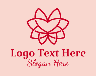 Minimalist - Red Heart Flower  logo design