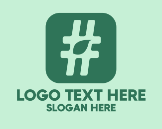 Number Sign - Green Leaf Hashtag  logo design