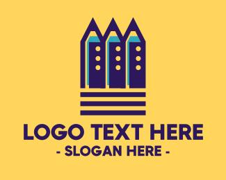Preschool - Preschool Blue Pencils logo design