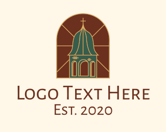 Classical Building - Stained Glass Church Tower logo design