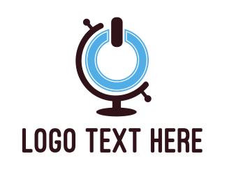 Power - Power Button Globe logo design