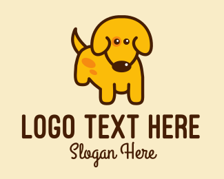 Yellow - Cute Yellow Dog logo design
