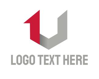First - 1 & V logo design