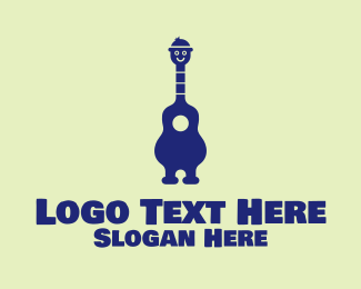Busking - Happy Guitar Player logo design