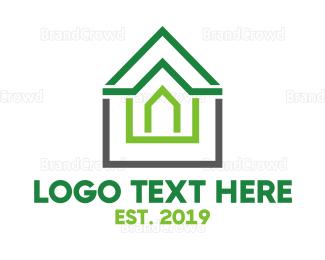 Roof - Green Roof Outline logo design