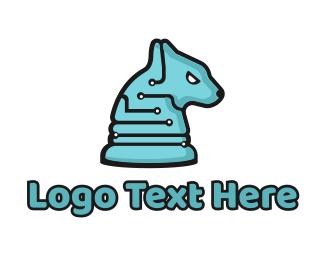 Artificial Intelligence - Electronic Tech Hound Animal logo design