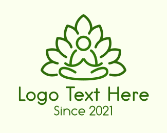Leaves - Leaves Meditating Figure logo design