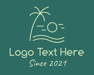 Swimming - Minimalist Beach Sunset logo design