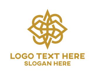 Earrings - Gold Outline Monogram logo design