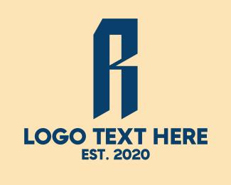 Plastic - Blue Letter R Company logo design
