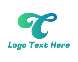 Manicure - Curly Letter T logo design