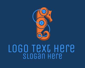 Android - Seahorse Robot logo design